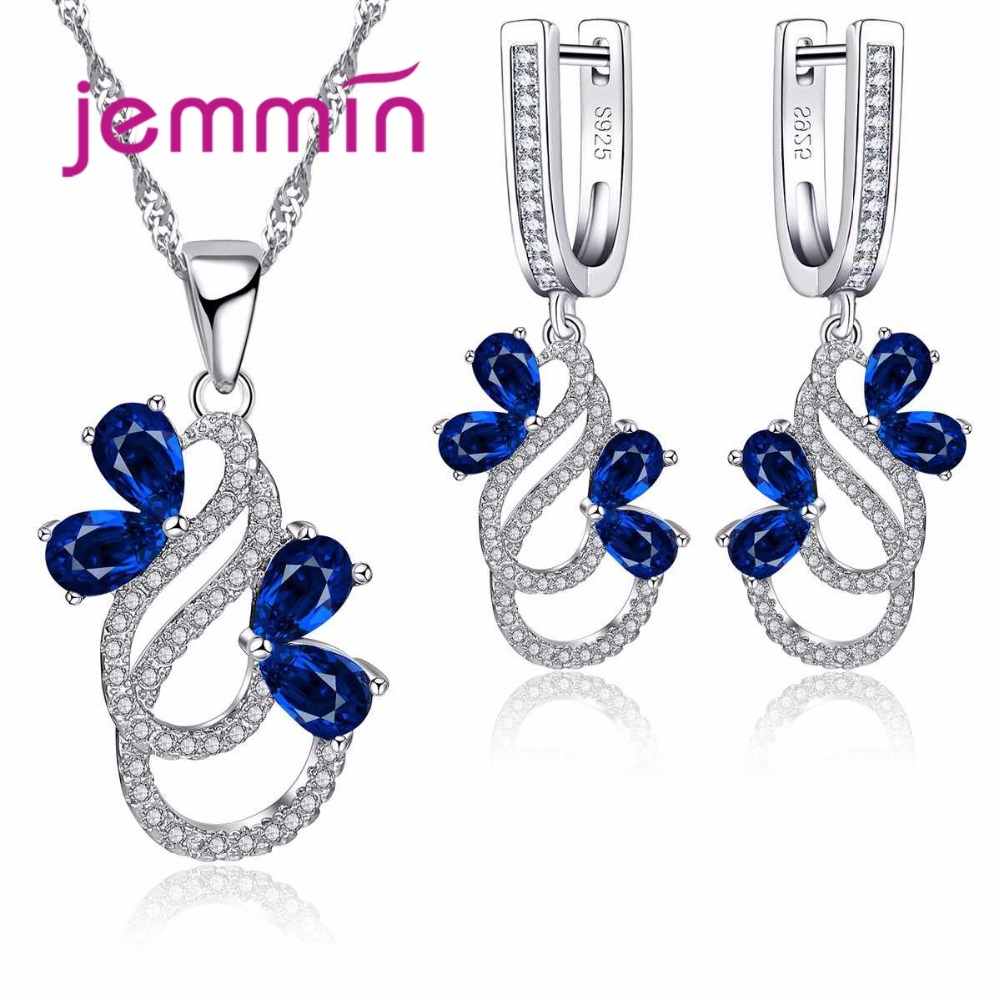 Luxury 925 Sterling Silver Necklace Earrings Set For Women Female Party Bule Austrian Crystal Jewelry High Quality