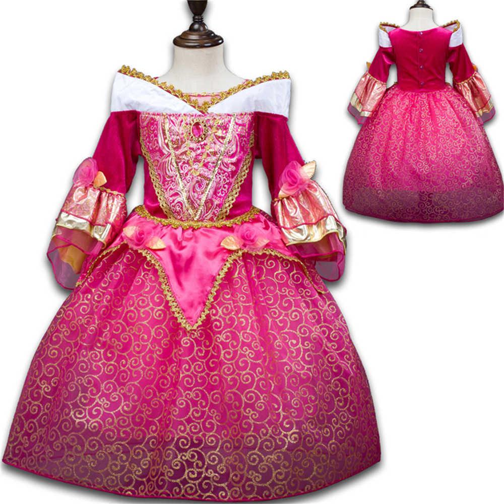 Aurora Meninas Sleeping Beauty Princess Dress Crianças Cosplay Neve Menina Vestido Branco Crianças Sofia Sophia Vestidos de Festa Traje