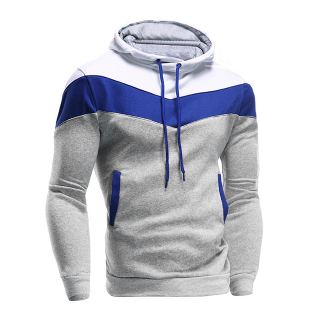 2017 Fashion Men Winter Slim Long Sleeve Hoodie Male Contrast Color Patchwork Hooded Sweatshirt Boys Casual Tops Outerwear Nov22