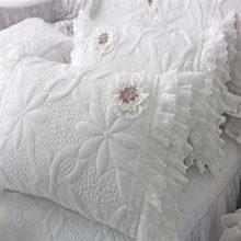 2 unids edredón funda de almohada de lujo princesa volante funda de almohada fundas de almohada de la boda de encaje hecho a mano textiles para el hogar almohada farsa no relleno