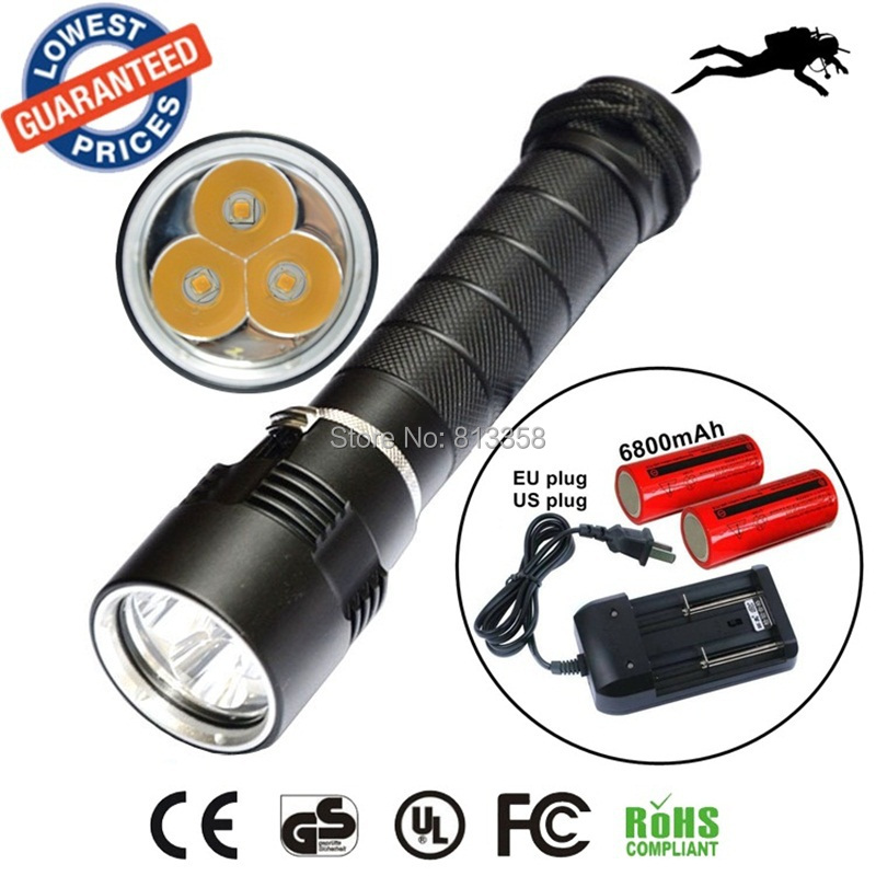 AloneFire DV11 warm light 3XCREE XML T6 Diving Flashlight Waterproof 100m Diver torch Light yellow light+26650 battery+charger alonefire 3aa 395nm uv ultra violet blacklight 8w 51 led flashlight torch lamp light with aa battery powered