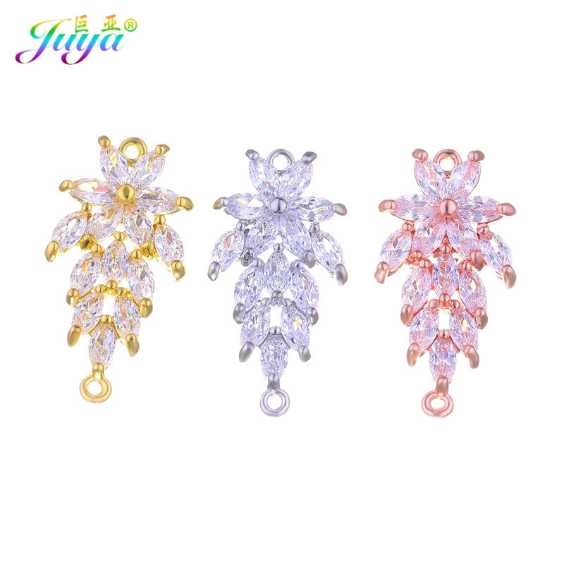 Wholesale Jewelry Supplies Cz Rhinestones Gold/Rose Gold Floating Copper Leaf Connector Charm Accessories For DIY Jewelry Making