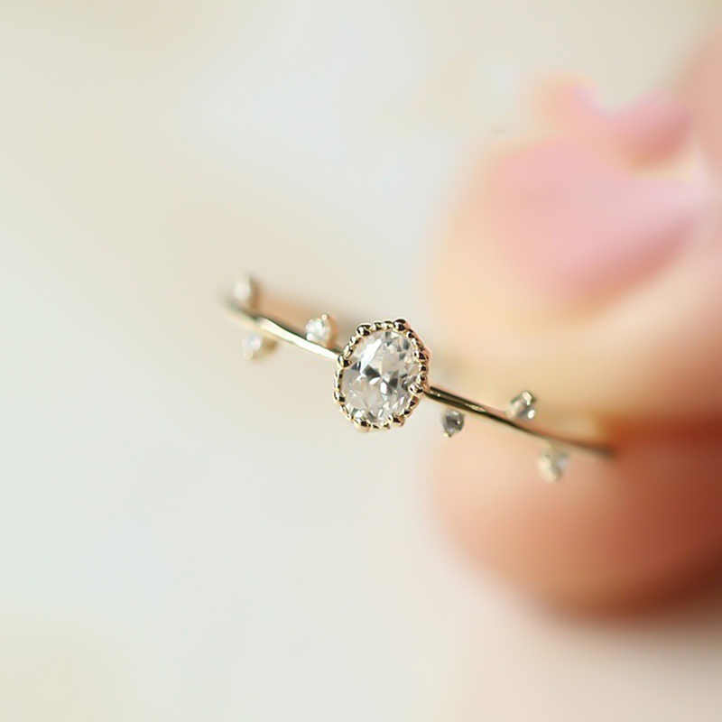 Chic Lovely Rose Gold Color Twig Ring for Women Elegant Tiny Finger Rings Inlaid Green Zircon Fashion Women Party Jewelry