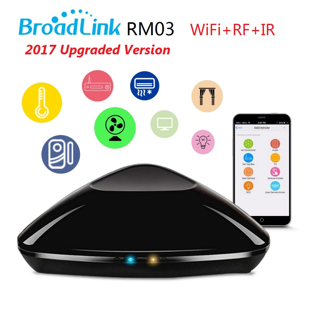 free shipping 2017 Broadlink RM Pro RM03,Smart home Automation WIFI+IR+RF Universal Intelligent remote control switch for broadlink us tc2 wifi touch switch 3gang 110 220v for rm2 rm pro universal remote controller wifi ir rf wireless control 433 315