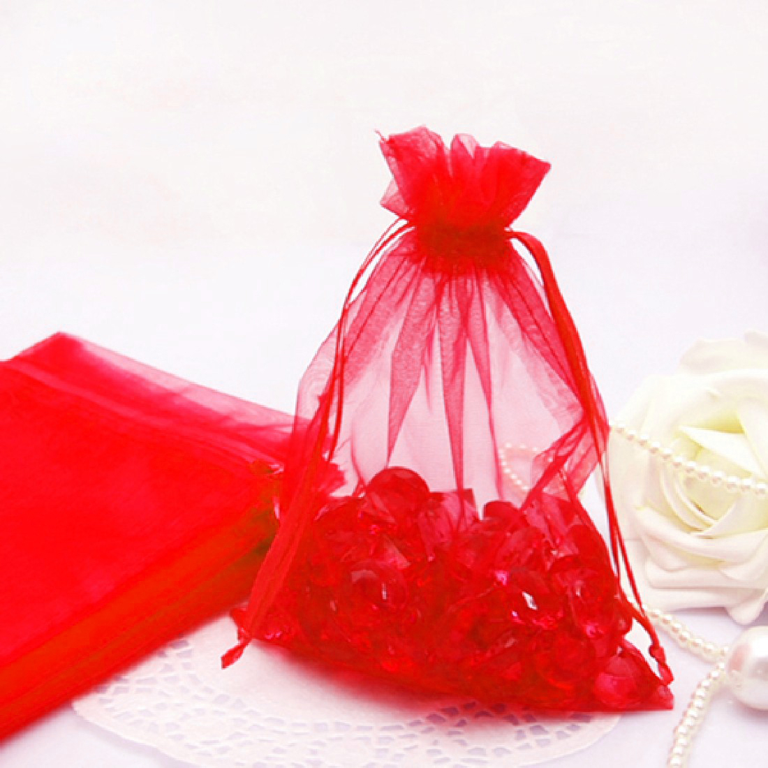 Fashion 100ps 3 Size Jewelry Gift Organza Bags Wedding Favors Candy ...