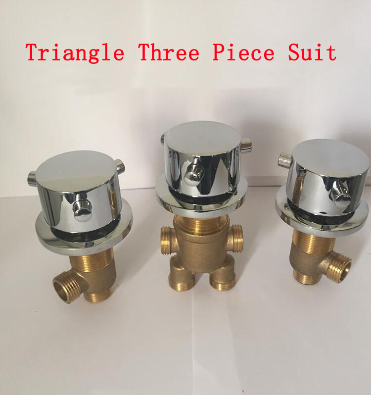 Triangle shower room mixing valve chrome, Brass bathroom bathtub shower faucet mixer, cold and hot water master switch/separator 3pcs 1set quality bathtub split massage bathtub triangle set switch water segregator shower room mixing valve