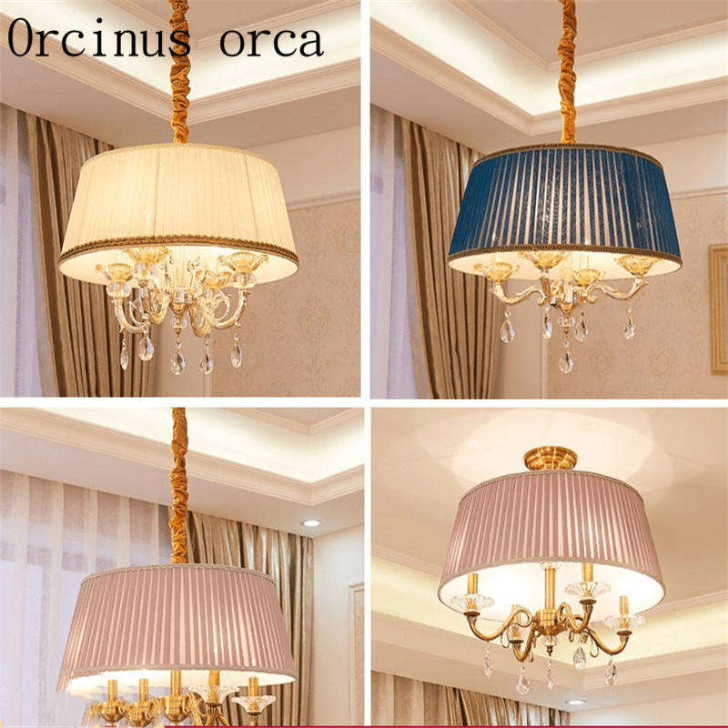 European style countryside crystal chandeliers dining room living room bedroom study modern simple fabric Chandelier modern crystal chandelier hanging lighting birdcage chandeliers light for living room bedroom dining room restaurant decoration