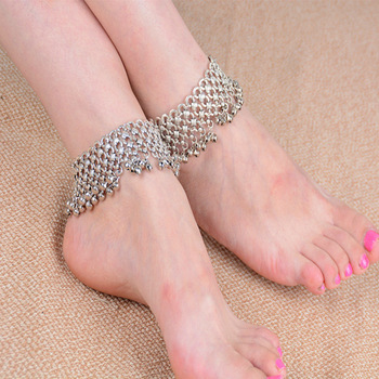 Bohemian Silver Infinity Heart Cute Jingle Bells Tassel Anklet Ankle Foot Chain Barefoot a for Women Girl Jewelry 1pc
