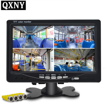 QXNY 7 HD Quad View Car Rear View Display Reverse Color LCD TFT Display for Truck Rear View Rear View Camera HD car camera