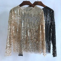 2017 Women Perspective Mesh Lace Blouse Tops Long Sleeve Spring Summer Fashion Beaded Sequins Tops