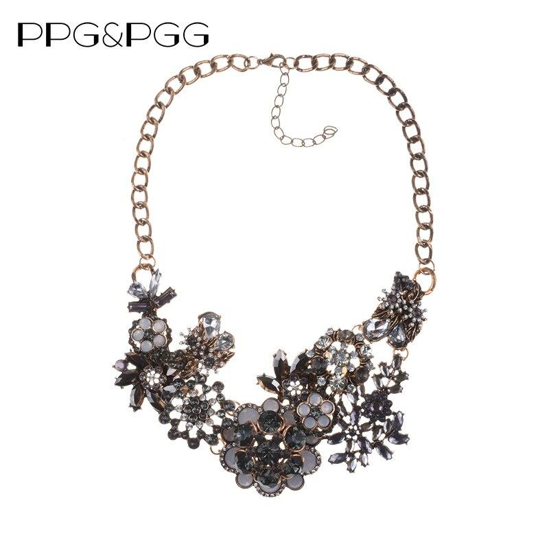 PPG&PGG New Fashion Jewelry Women Vintage Rhinestone Flower Statement Necklace Crystal Bib Pendants vintage bib rhinestone crystal statement choker necklace for women