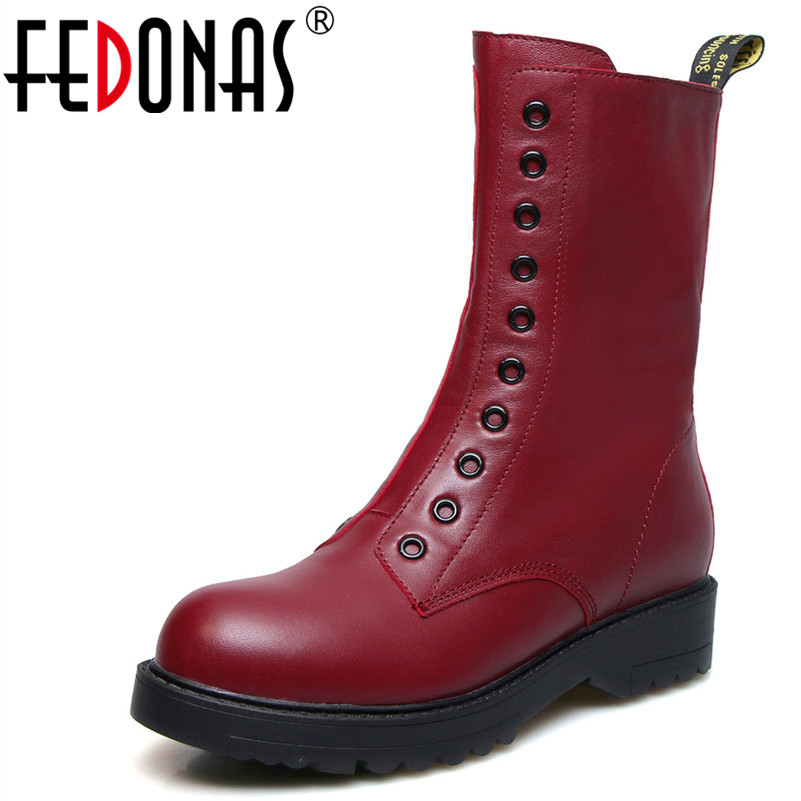 все цены на FEDONAS 1Fashion Women Ankle Boots Autumn Winter Warm High Heels Shoes Woman Genuine Leather Round Toe Quality Motorcycle Boots онлайн