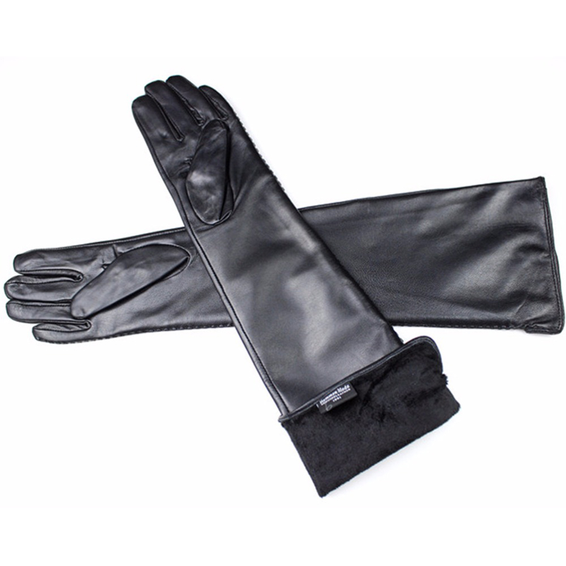 long leather gloves female side lace style sheepskin gloves over 50 cm elbow length thin velvet lining warm Black free shipping in Women 39 s Gloves from Apparel Accessories