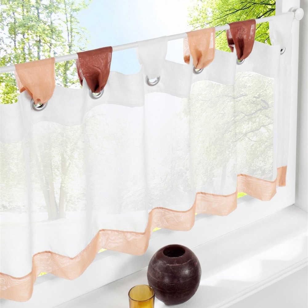 rideaux transparents pour la cuisine petits rideaux de cuisine courts rideaux pastoraux stores de fenetre couleur unie differentes tailles onglet haut