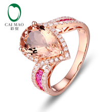 CaiMao 14KT/585 Rose Gold 2.98 ct Natural Morganite 0.49ct Round Cut Diamond 0.36ct Pink Sapphire Engagement Ring Jewelry