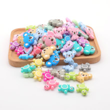 6pc Bpa Free Baby Teether Cartoon Animal Tooth Silicone Rodent Beads Koala Pacifier Clips Chain DIY Tiny Rod