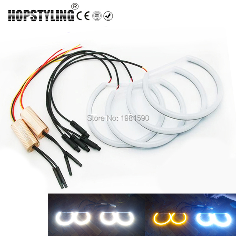 For bmw e46 m3 with factory equipped hid xenon headlights excellent hopstyling white amber dual color cotton light angel eyes halo ring for bmw e46 non projector asfbconference2016 Choice Image