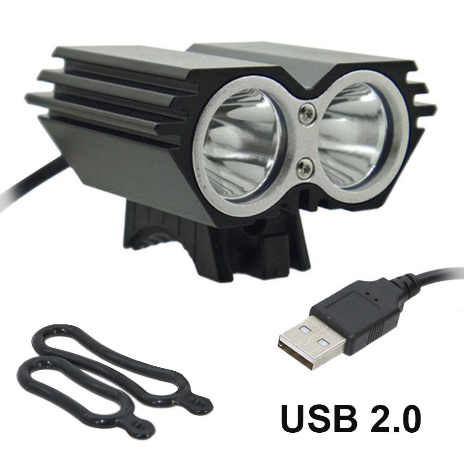 USB Bike Light Solarstorm Cycling Lamp 2 X T6 LED 5000 Lumen Bicycle Light HeadLamp + O Ring (without Battery Charger)