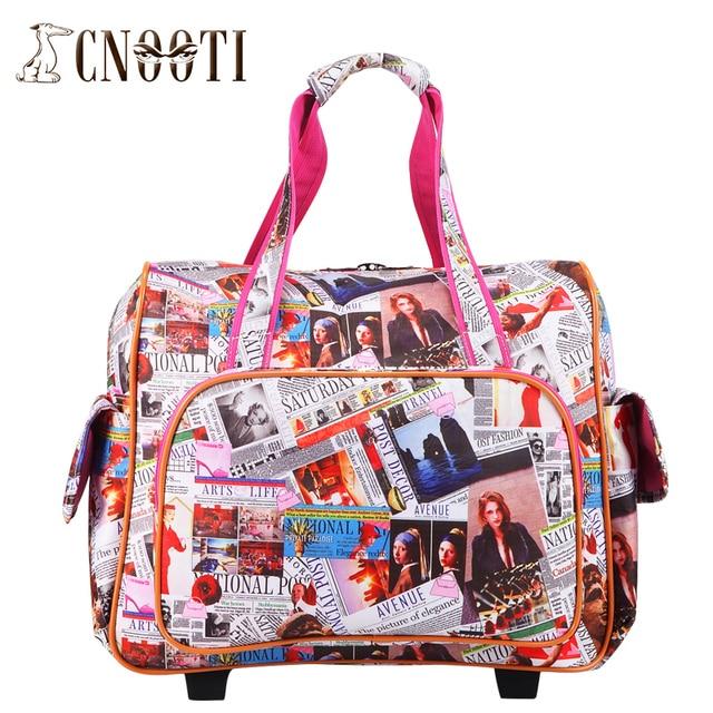 English letter trolley bag travel bag handbag female retractable ...