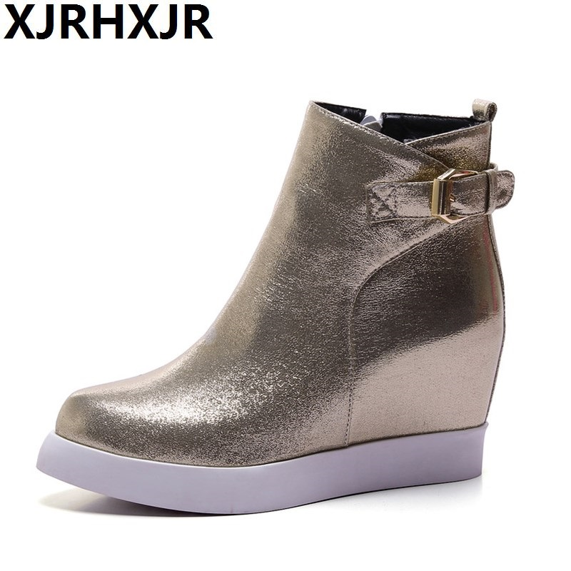 XJRHXJR Brand 2018 New Women Ankle Boots Platform Shoes Winter Autumn Wedge Boots Woman Thick Height Increasing Heel Shoes Women woman wedge heel ankle boots 2015 the latest autumn winter fashion zipper pumps boots cross straps woman wedge heel ankle boots