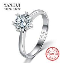 De lujo 100% Real 925 de Plata Anillos de Plata Maciza Con la Estampilla S925 anillos set 1 carat sona diamante de la cz anillos de boda para las mujeres JZR122