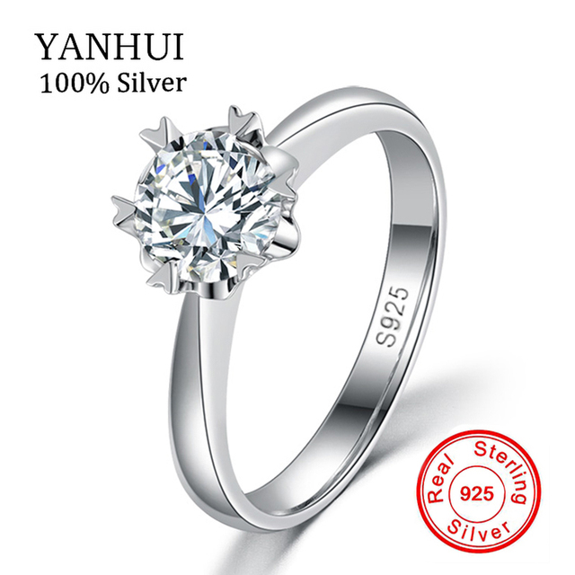 Luxury 100% Solid Silver Rings With S925 Stamp Real 925 Silver Rings Set 1 Carat SONA CZ Diamond Wedding Rings For Women JZR122