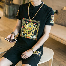 Loldeal Summer Mens Short Sleeve Shorts Set Large Size Cotton and Ma Chinese Print Dragon