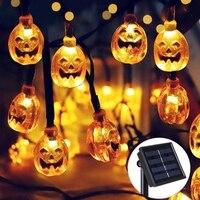 Solar Powered Fairy Lamp Outdoor Garden DIY Pumpkin 30 LED String Lights Christmas for Halloween Party Lighting Decoration