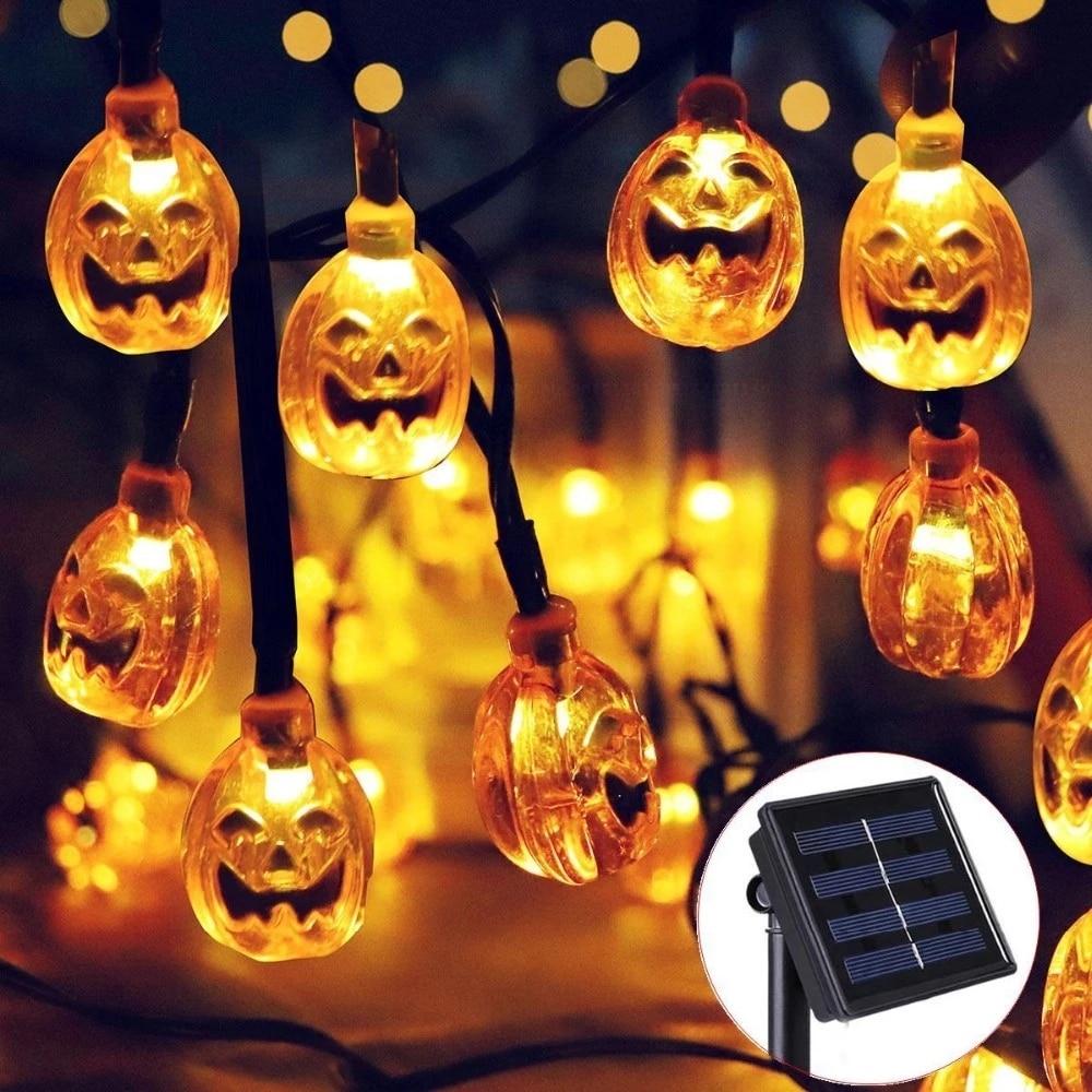 Solar Powered Fairy Lamp Outdoor Garden DIY Pumpkin 30 LED ...