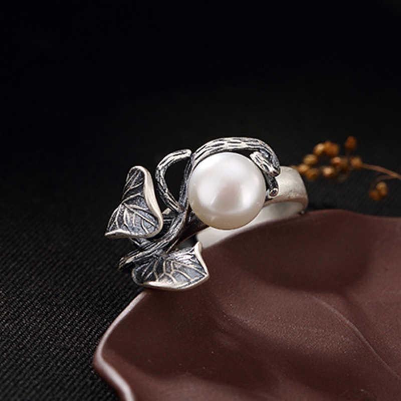 S925 เงินไทยธรรมชาติหยกสีขาวธรรมชาติมุกแหวนคลาสสิกพลัมดอกไม้ผู้หญิงแหวนเปิด
