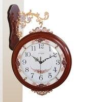 Meijswxj Retro Double Dided Wall Clock Saat Reloj Wood Clock Relogio de parede Duvar Saati Horloge Murale Home living room Wall