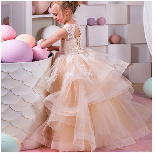 Girl's Formal Dress 2017 Flower Girls Princess Dresses Kids Long Lace Tiered Gauze Party Birthday Gowns Children's Wedding Dress цены онлайн