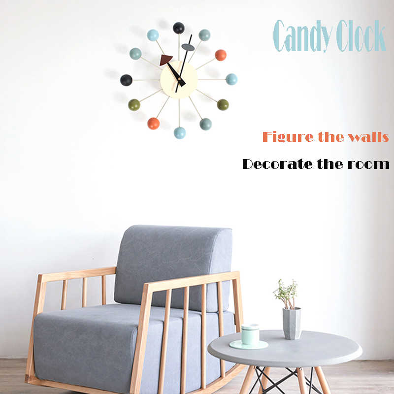New Decor wall clock watch quiet Wall Clocks Quartz Needle popular fashion wooden ball clock decor living room and kid room
