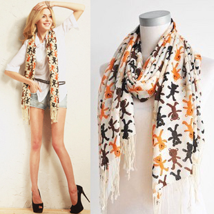 Spring women's pure wool tassel scarf large cape