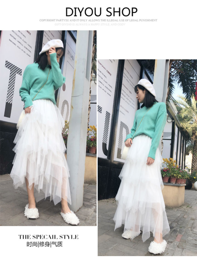 Women irregular Tulle Skirts Fashion Elastic High Waist Mesh Tutu Skirt Pleated Long Skirts Midi Skirt Saias Faldas Jupe Femmle 25