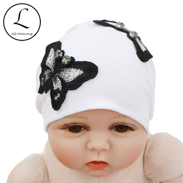GZHilovingL 0-5 Months Spring Soft Newborn Baby Cotton Beanies Hat  Butterfly baby Hats Accessories a16385a6e62d