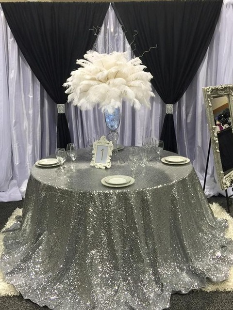 120 Round Gold Sequin Tablecloth Sparkly Christmas Glitter Table Cloth Shimmer Cover For Wedding