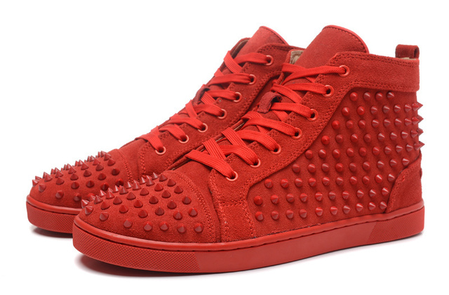 timeless design 01fa2 931e8 FREE SHIPPING Red bottom men shoes red suede Fashion flat full spikes men  sneakers high top