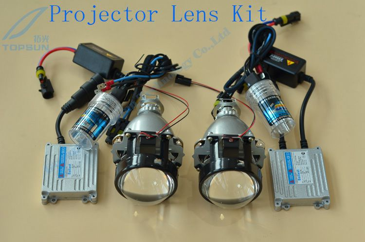 Headlight kit 2.5 inch Leader WST Bixenon Projector lens with H1 xenon bulbs and ballast Car Styling Retrofit for H4 H7