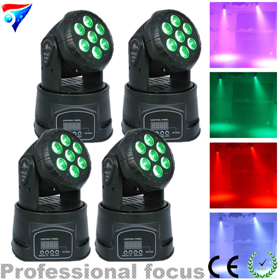 Free Shipping 4pcs/Lot High Quality Led Wash Moving Head Light 7x12w Rgbw 4in1 Leds Dj Band Lights 6pcs lot good quality 7 12w mini rgbw led moving head light laser christmas party lights 12 months warranty