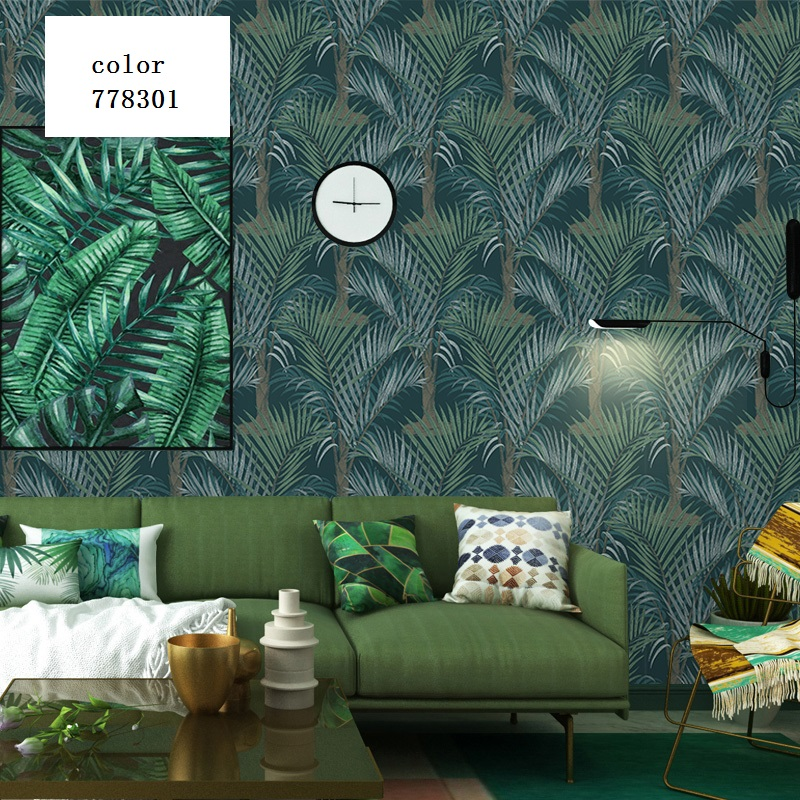 2019 New Nordic Leaf Wallpaper Southeast Asian Tropical -3552