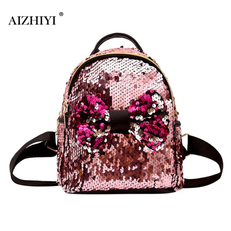 36e4bc68cf9c Mini Shining Sequins Backpack Bowknot Women Cute Backpacks Design for  Teenager Party Girls Small Travel Schoolbag