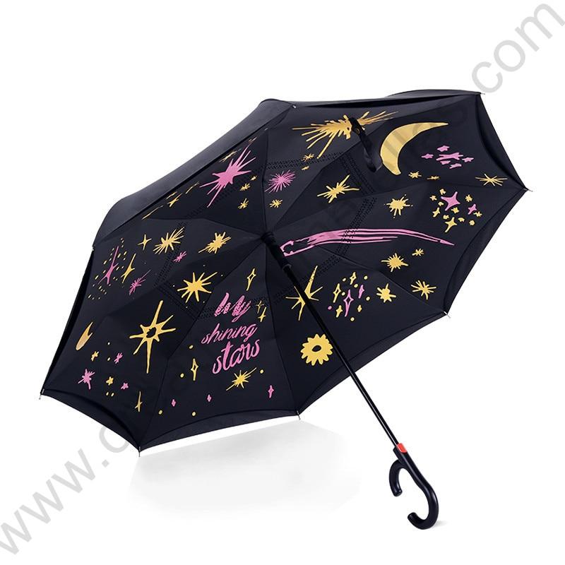 115 cm 2-3 personnes c-crochet auto-défense coupe-vent inverse mains libres voiture parapluie agrandir double couches inversé debout parasol