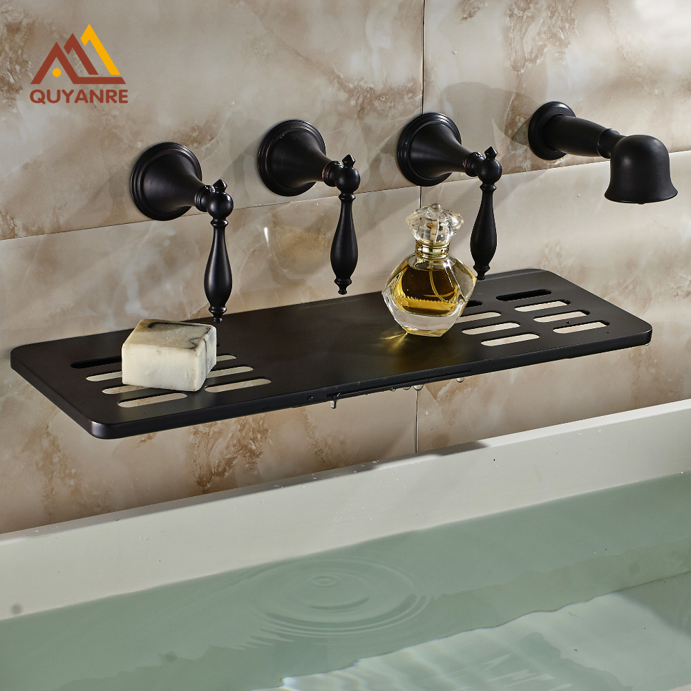 Blackened Finish Bath & Shower Spout Triple Handle Five Hole with Brass Handshower Tub Faucet Wall Mounted
