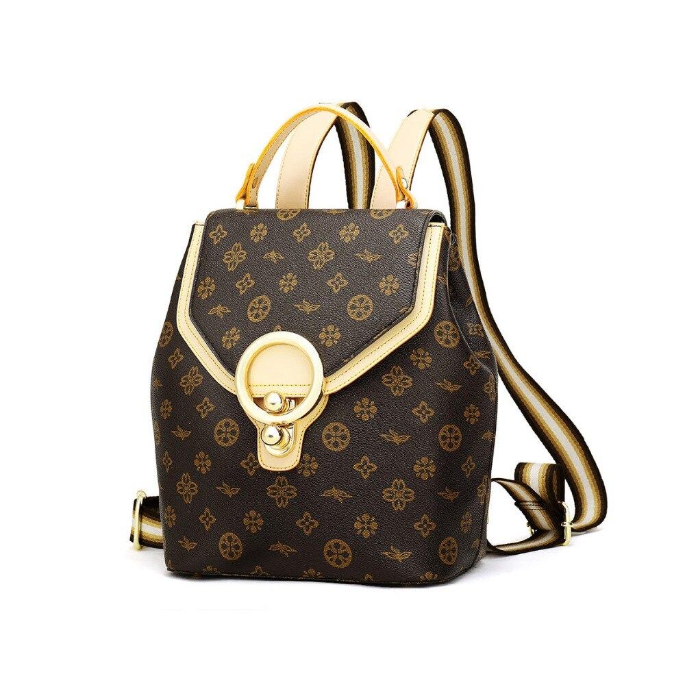 Female PVC Backpack Fashion Shoulder Bag Classic Printed Drawstring Backpack Preppy School Bag Large Shoulder Bag