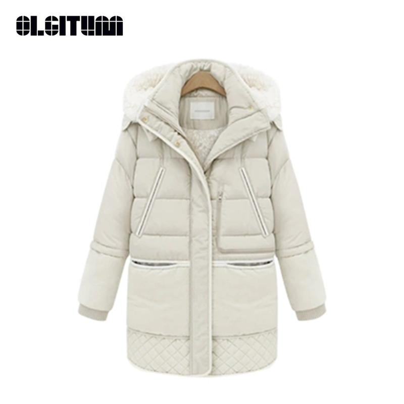 New 2018 Winter Women Cotton Coat Jacket Padded Slim Hooded Long   Parkas   Female Thicken Warm Jacket Outwear CC087