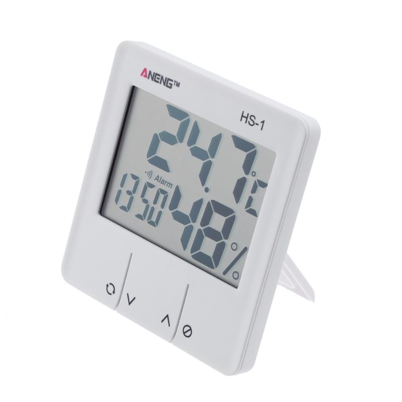 HS-1 Baby Room thermometer Indoor LCD Display Electronic Temperature Humidity Meter Alarm Clock White Color disun 3320 3w 2 1 ch 4 lcd sensing speaker w fm temperature time alarm clock blue white