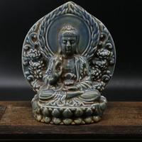 Antique YuanDynasty porcelain statue / sculpture Blue Guanyin Buddha,Hand carved crafts,Collection&Adornment,Free shipping