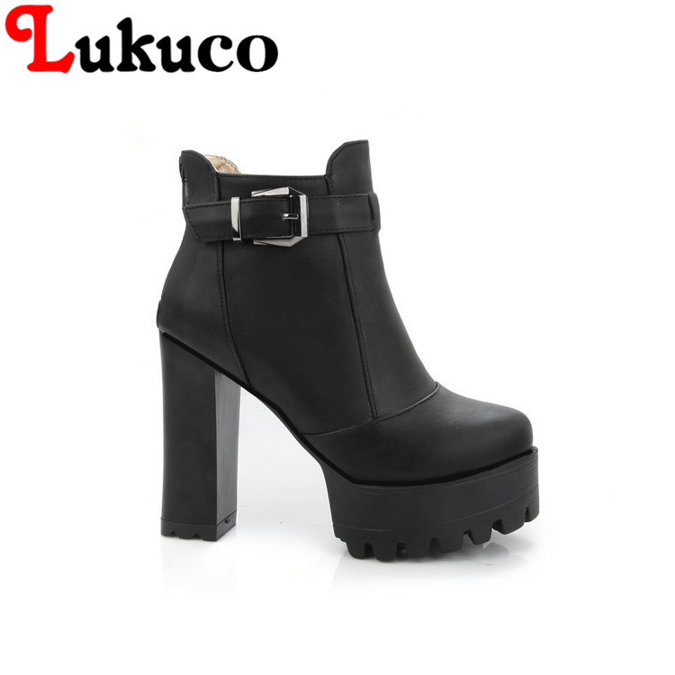 Lukuco zip and buckle design PU made super high square heel women ankle boots with platform