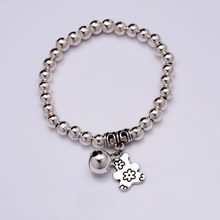 NEW Bear Bell Charm Bracelet Silver plated beads Bracelet 2016 Women Fashion jewelry(China)